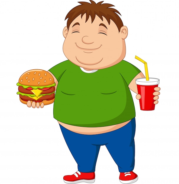 Overweight boy holding hamburger and soda drink Premium Vector