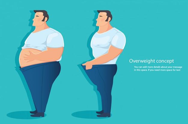 Overweight character belly fat vector Premium Vector