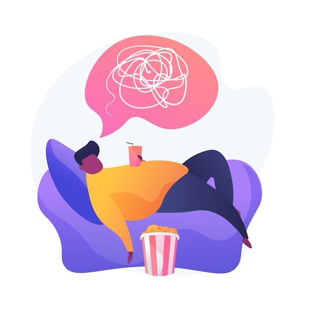 Overweight man cartoon character lying on armchair and drinking soda. physical inactivity, passive lifestyle, bad habit. sedentary lifestyle. Free Vector