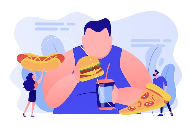 Overweight man eating burger, tiny people giving fast food. overeating addiction, binge eating disorder, compulsive overeating treatment concept. pinkish coral bluevector isolated illustration Free Vector