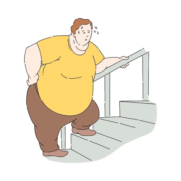 Мужчина с избыточным весом и ожирением потеет во время подъема по лестнице Premium векторы
