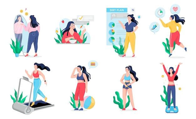 과체중 여성은 얇은 과정이됩니다. 피트니스 및 건강한 식단에 대한 아이디어. 체중 감량 과정. 큰 배를 가진 여자, 사람은 비만으로 고통받습니다. 만화 스타일의 그림 프리미엄 벡터