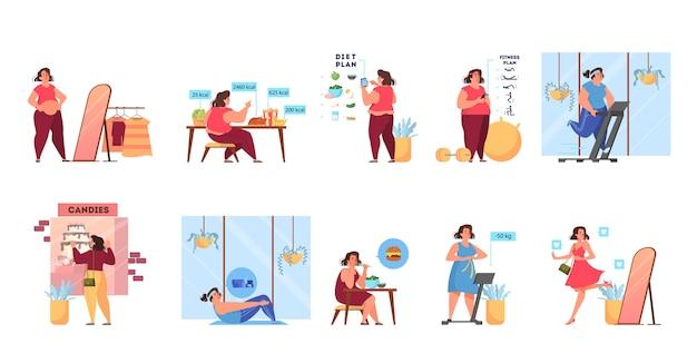 太りすぎの女性は細いプロセスになります。フィットネスと健康的な食事のアイデア。減量プロセス。大きなお腹の女性、肥満の人。漫画のスタイルのイラスト Premiumベクター