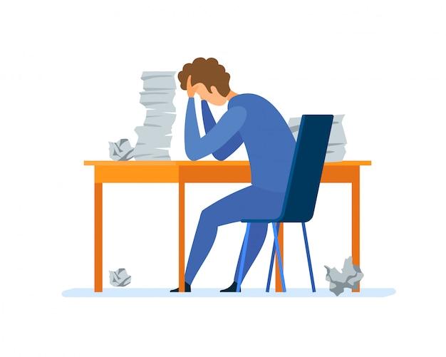 Overwork, office routine flat vector illustration Premium Vector