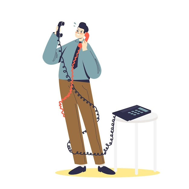 Overworked businessman having two phone conversation. office slavery concept. business manager muss