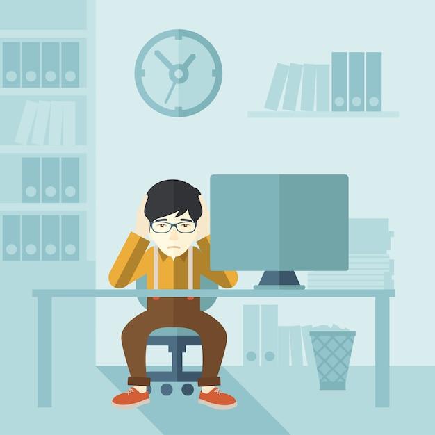 Overworked businessman is under stress. Premium Vector