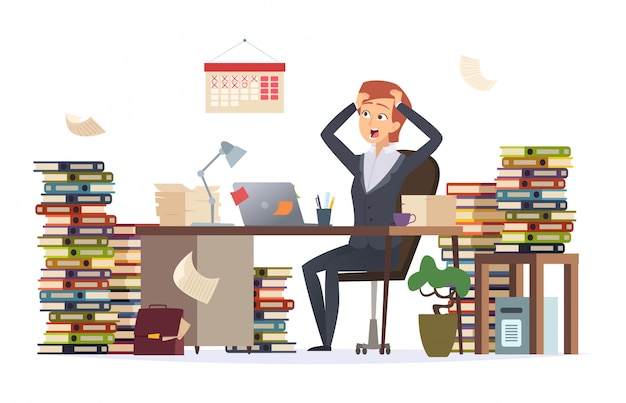 Premium Vector Overworked Businesswoman Asleep Depressed Tired Hard Work Female Manager Sitting Office Desk In Big Pile Of Documents Character