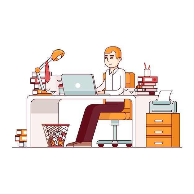 Overworked employee doing lots of paperwork Free Vector