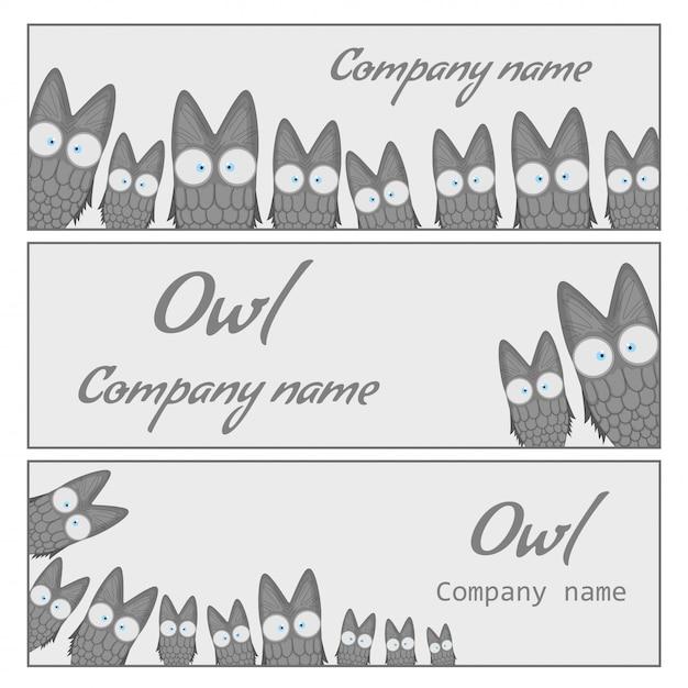 Owl banner set Premium Vector