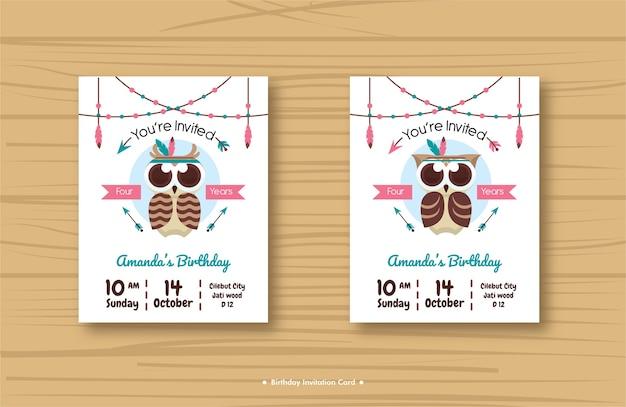 Owl birthday invitation card series vector premium download owl birthday invitation card series premium vector stopboris Choice Image