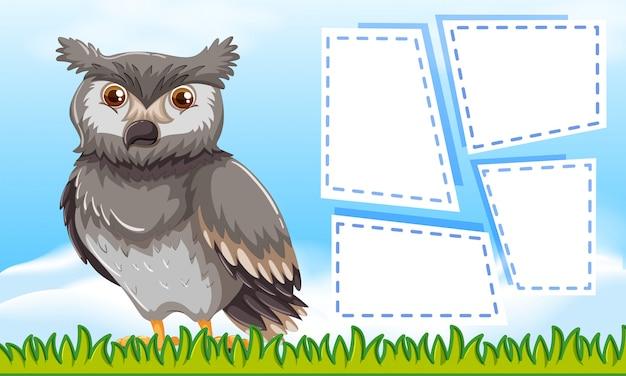 Owl on blank note frames Premium Vector