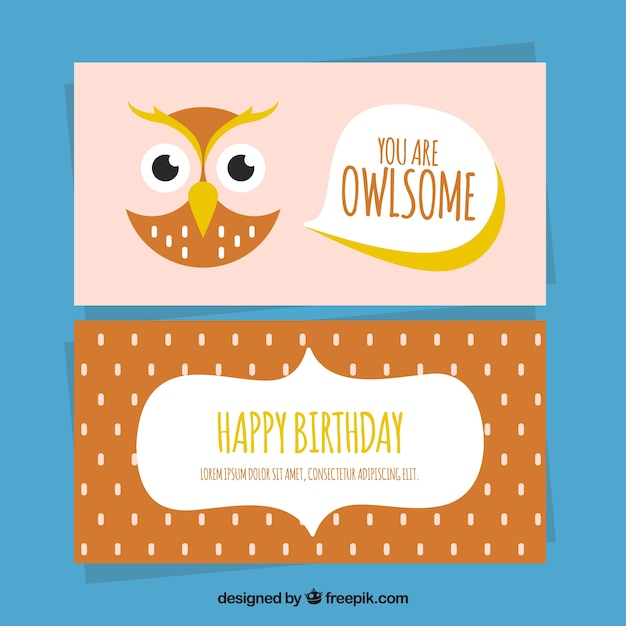 Owl card in flat design for birthdays vector free download owl card in flat design for birthdays free vector stopboris Choice Image
