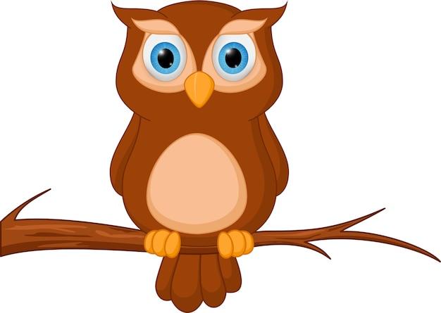 owl cartoon standing on tree vector premium download