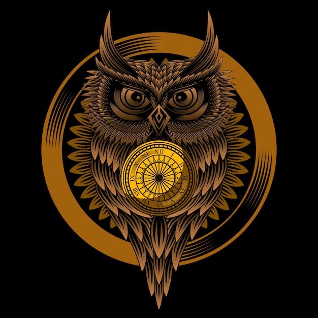 Owl clock vector Premium Vector