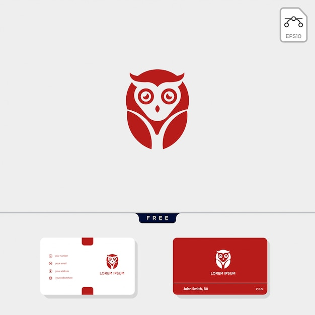 Owl concept creative logo template and business card template include Premium Vector