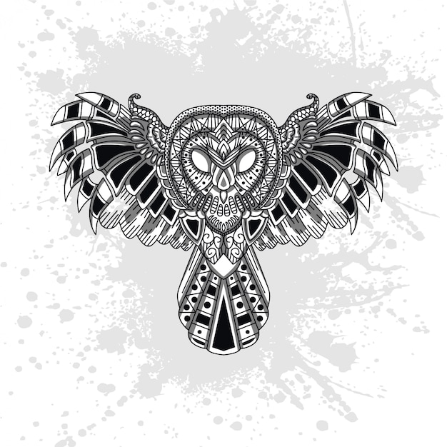 Owl decorated with abstract shapes Premium Vector