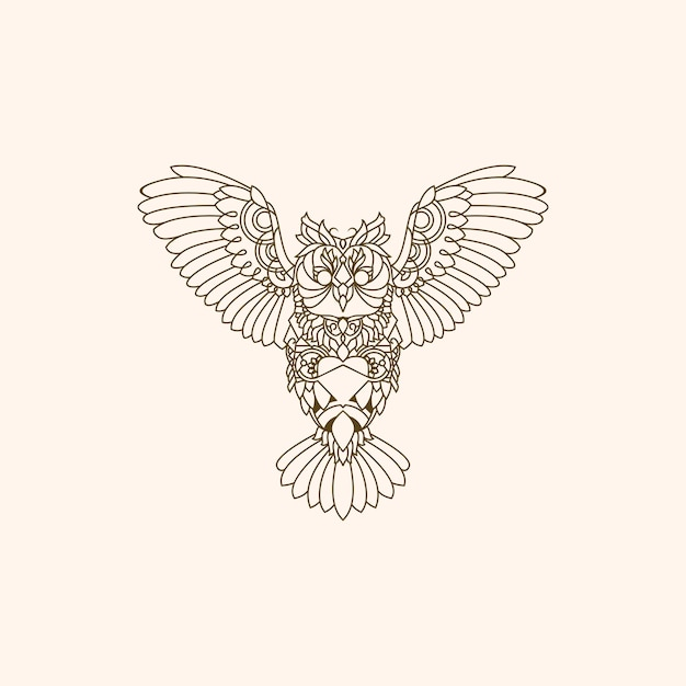 Owl decoration monoline logo Premium Vector
