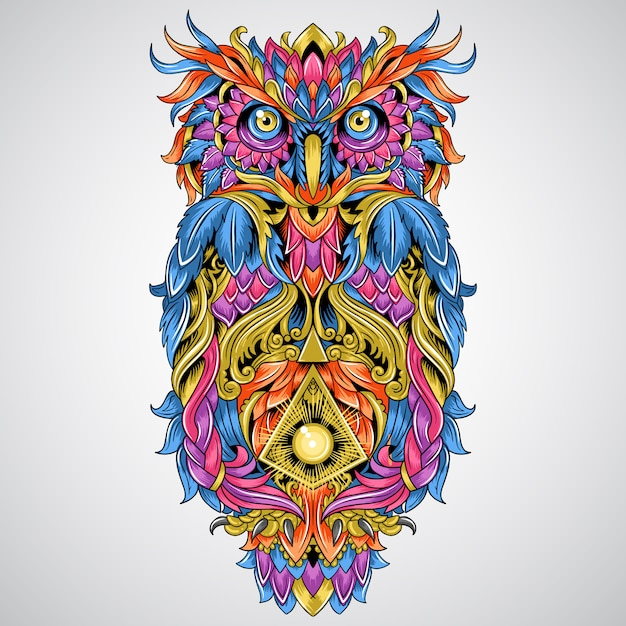 Owl detail ornament artwork for tattoo and full colour tribal element vector Premium Vector