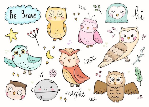 Owl doodle sticker outline drawing. Premium Vector
