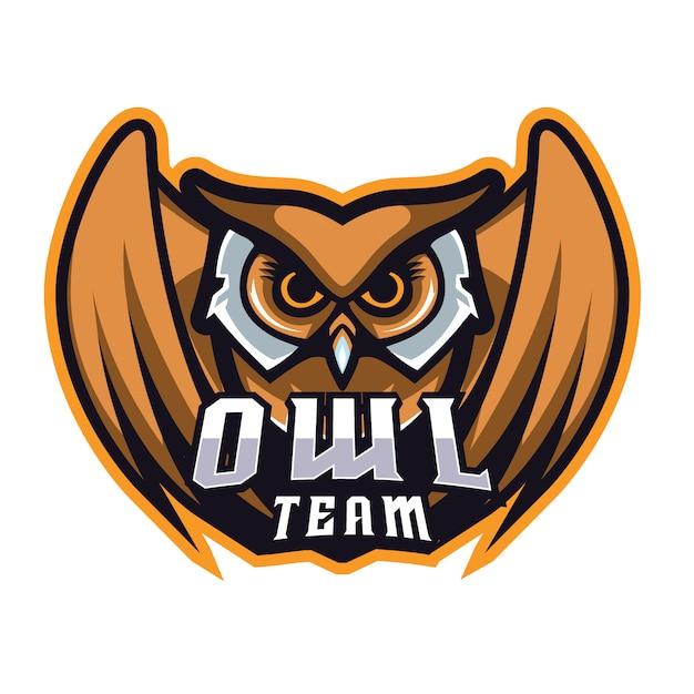 Owl e sports logo Premium Vector