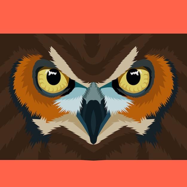 Owl face on polygonal geometric vector Premium Vector