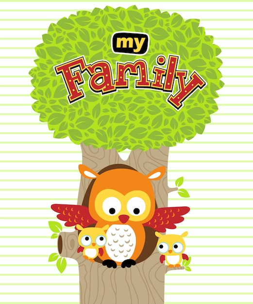 Owl family background colorful flat design shadow decor Free vector