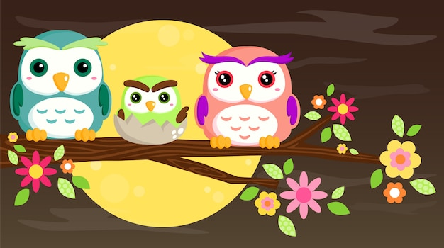 Owl family Premium Vector