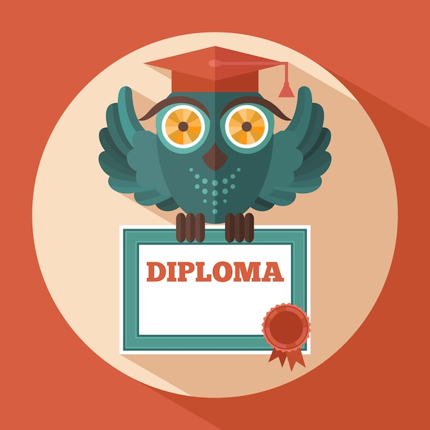 Owl in graduation cap Premium Vector