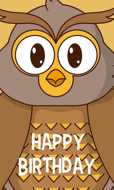 Owl Happy Birthday Cute Card Vector Premium Download