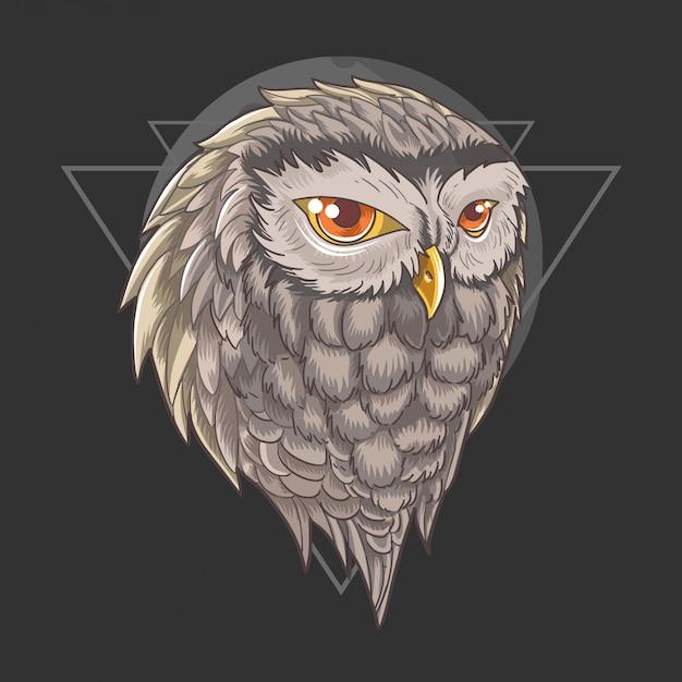 Owl head vector Premium Vector