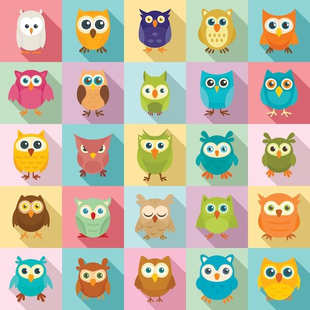 Owl icons set, flat style Premium Vector