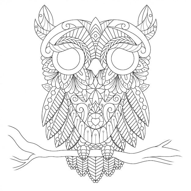 フクロウのイラスト、直線的なスタイルの塗り絵のマンダラzentangle Premiumベクター