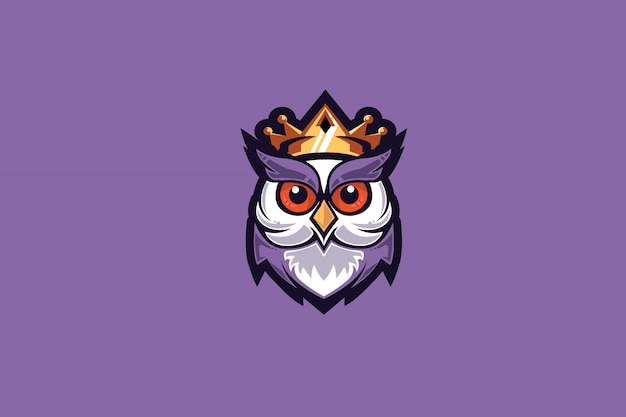 Owl king e sports Premium Vector