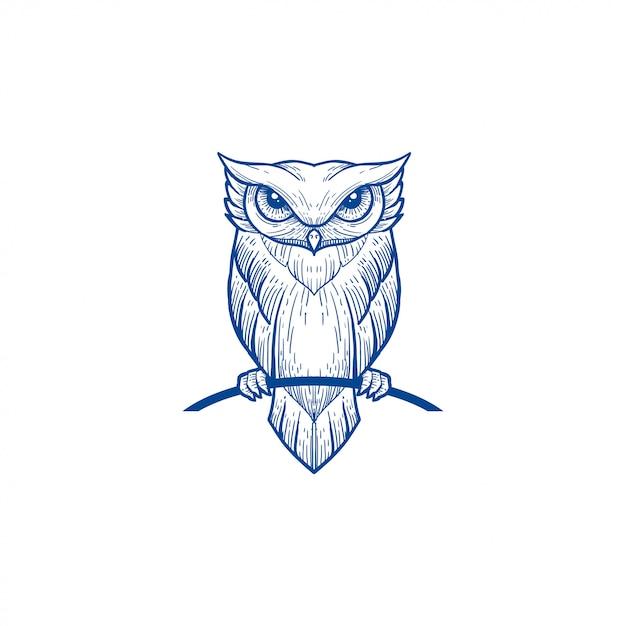 Owl line art blue color portrait Premium Vector