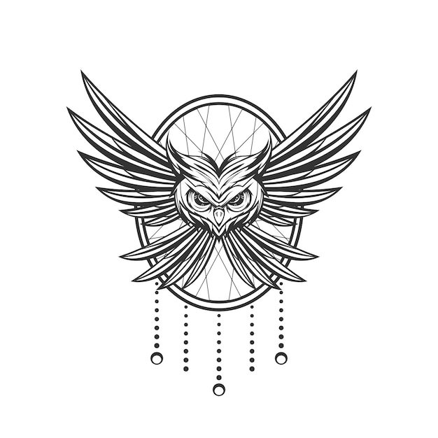Owl line art design with ornament background Premium Vector