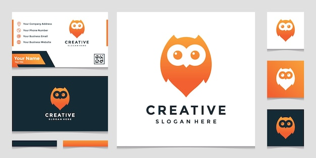 Owl location combined with elegant pin map sign logo design template Premium Vector