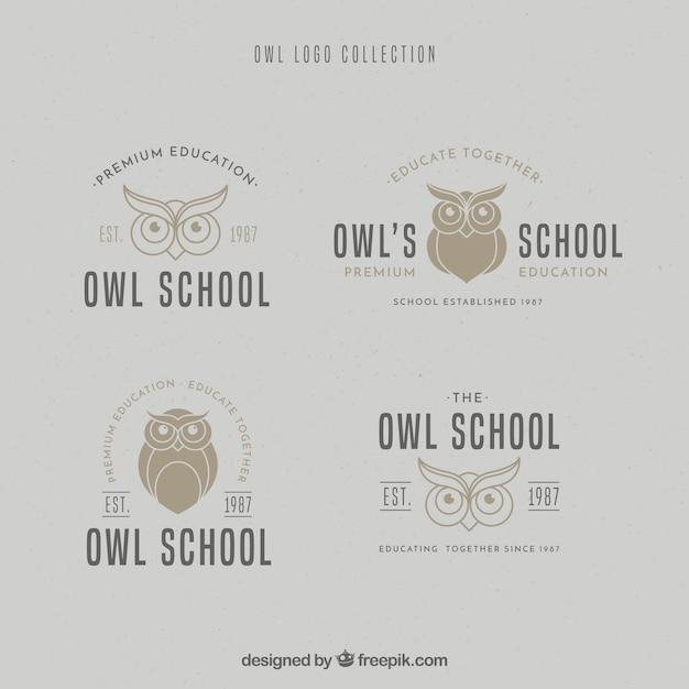 Owl logo collection Premium Vector
