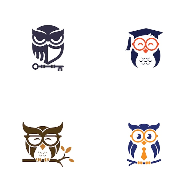 Owl logo design template Premium Vector