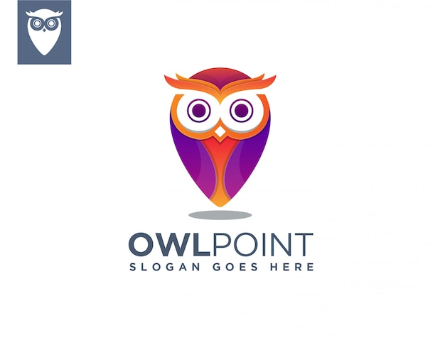 Owl map point logo template Premium Vector