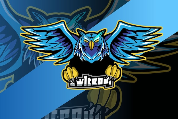 Сова-талисман для логотипа спорта и киберспорта, изолированные на темном фоне Premium векторы