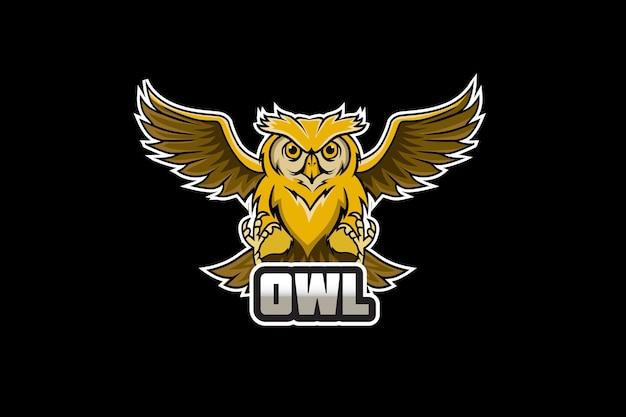 スポーツとeスポーツのロゴのフクロウのマスコット Premiumベクター