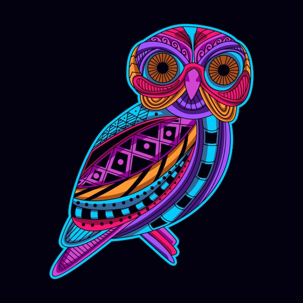 Owl in neon color Premium Vector