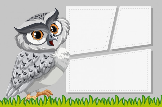 Owl on note template Free Vector