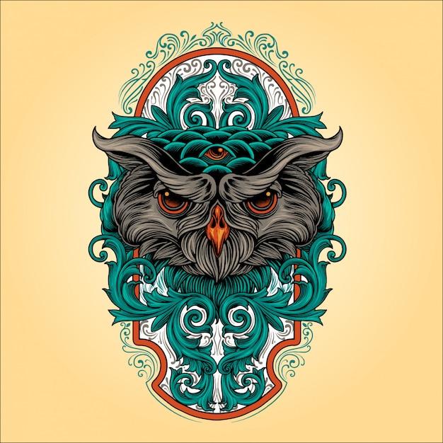 Owl ornament Premium Vector