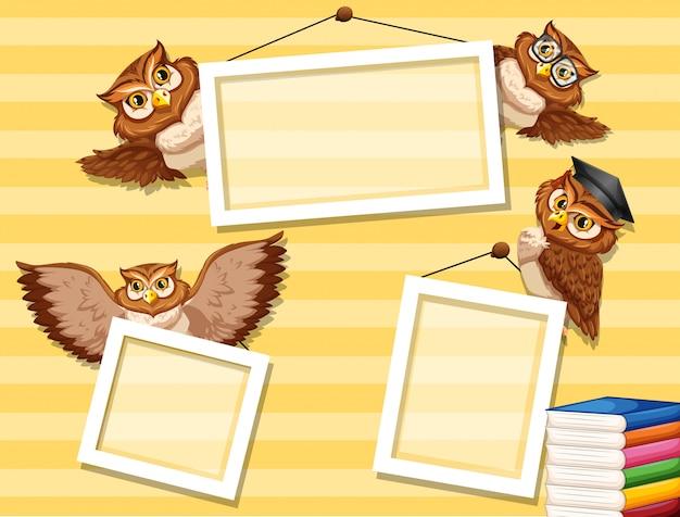 Owl on photo frame Free Vector