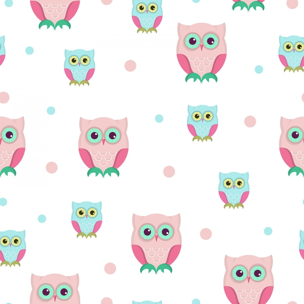 Owl seamless patttern design. Premium Vector