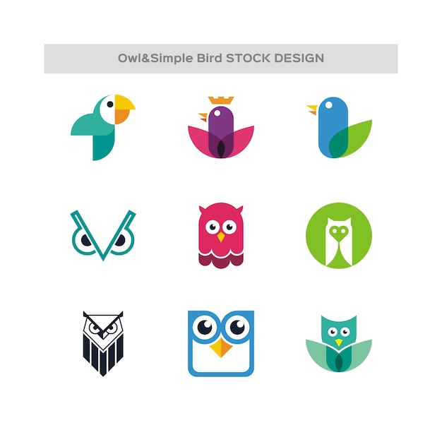 Owl and simple bird stock design Premium Vector