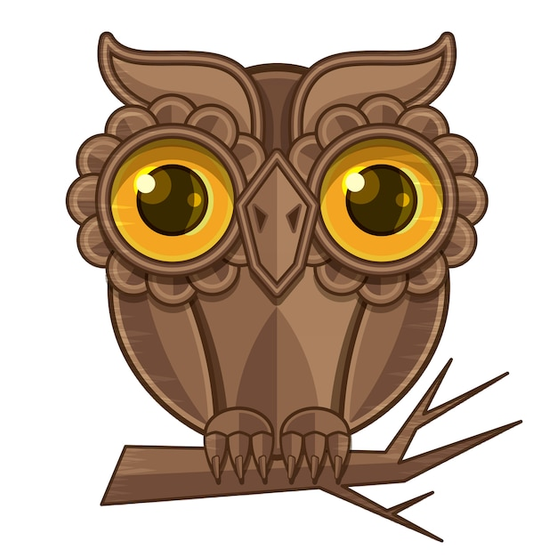 Owl sitting on a branch Premium Vector