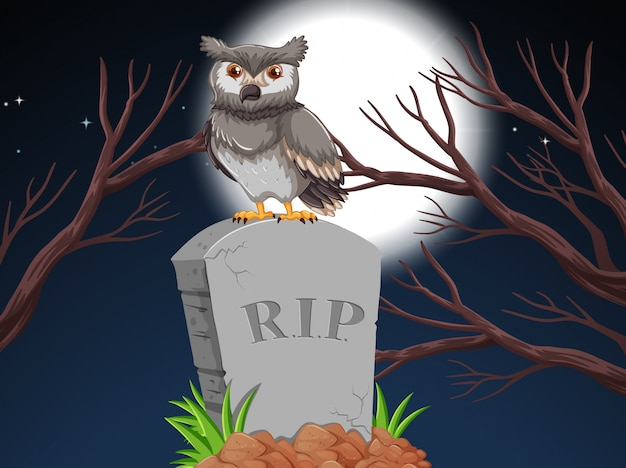 An owl on tombstone at night Free Vector