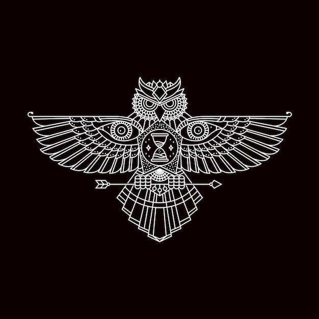 Owl with open wings emblem Premium Vector